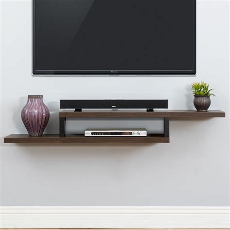 table tv on wall ascend 60 quot asymmetrical wall mounted tv component shelf