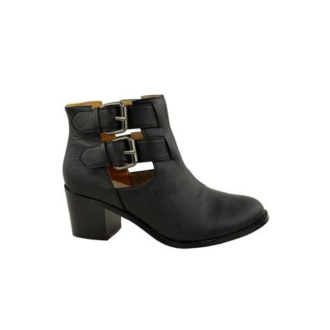 block heel buckle ankle boots