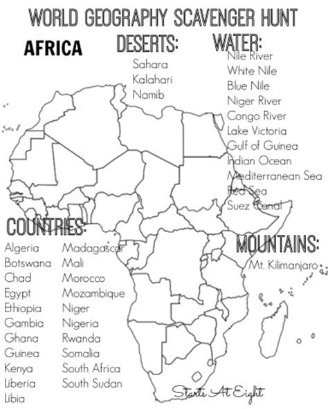 unit 6 africa physical map answers world geography scavenger hunt africa free printable