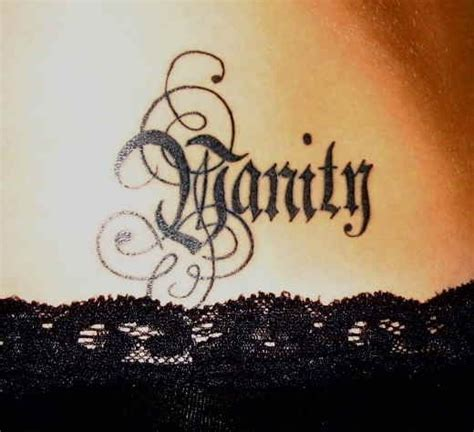 vanity tattoo feminine 64 quot vanity quot word with