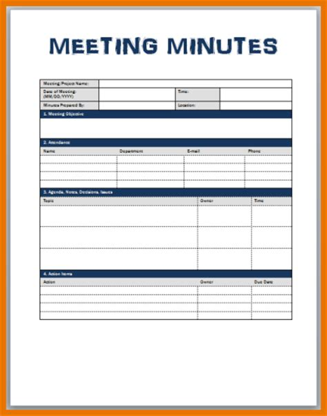 Free Meeting Minutes Template Word 6 meeting minutes templates itinerary template sle