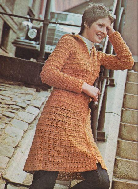 womens hooded tunic vintage crochet pattern