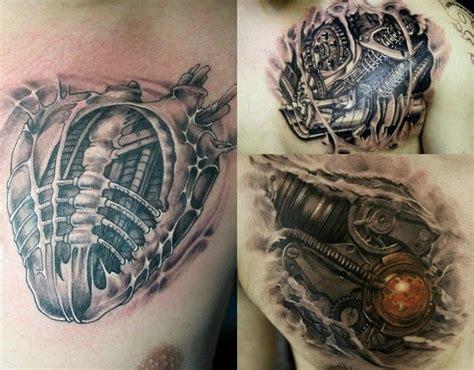 tattoo 3d effekt biomechanik tattoo herz brust 3d effekt bio mechanische