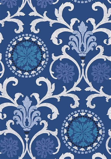 banyan wallpaper in navy from the caravan collection thibaut blue white