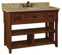 Bathroom Vanity Shelves Amish 49 Quot Lancaster Mission Open Shelf Bathroom Vanity With Slats