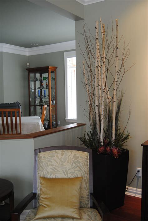 how to make lighted branches tall birch branches add drama to this clients family room