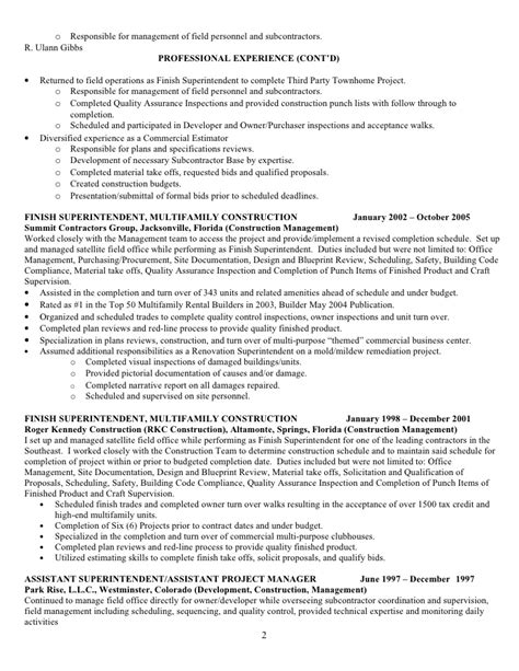 Commercial Construction Resume Sles Resume For R Ulann Gibbs Construction Mgt 09 F No Phone Nos
