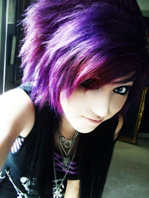 girl hairstyles purple slate blue pixie layer pop pigtail brown emo haircut