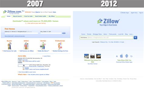 real estate search comparing 2007 to 2012 the