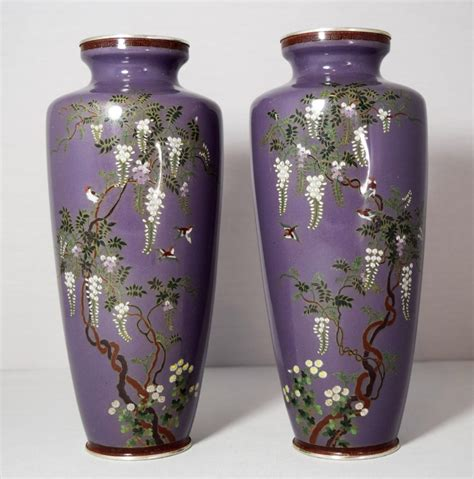 Japanese Cloisonne Vases by Lovely Quality Pair Of Japanese Cloisonne Vases Meiji