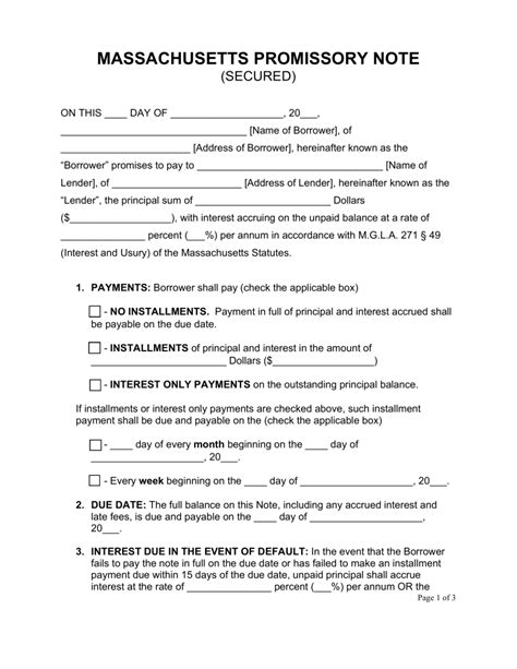 secured promissory note template free massachusetts secured promissory note template word