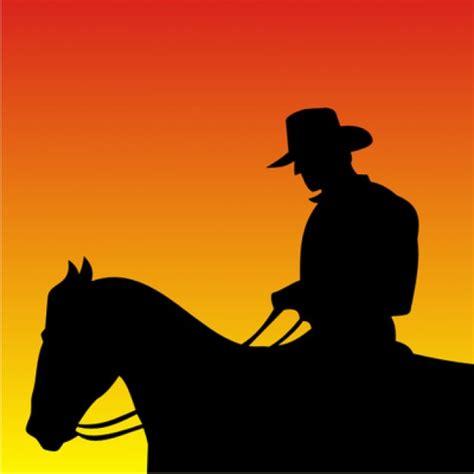imagenes vaqueras en sombra flat cowboy silhouette sitting on horse vector free download