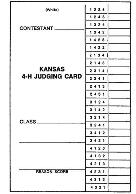 blank show judges card template learning to judge 4 h livestock judging programs what to