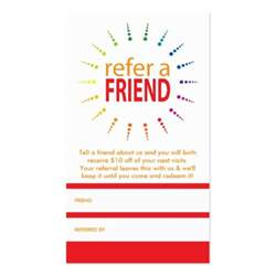 refer a friend business cards refer a friend rainbowburst business card zazzle