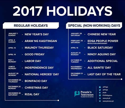 unique holidays list of philippine holidays in 2017 philippine primer
