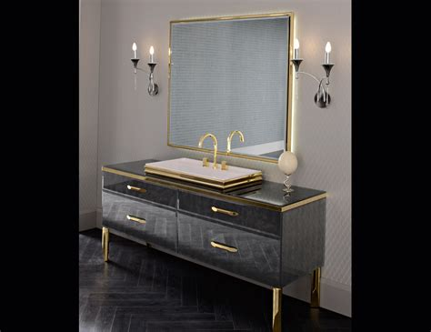 Hton Bathroom Vanity by Milldue 18 Black Lacquered Glass Luxury Italian
