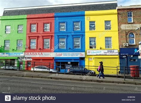 colorful buildings colourful buildings in southall west stock photo