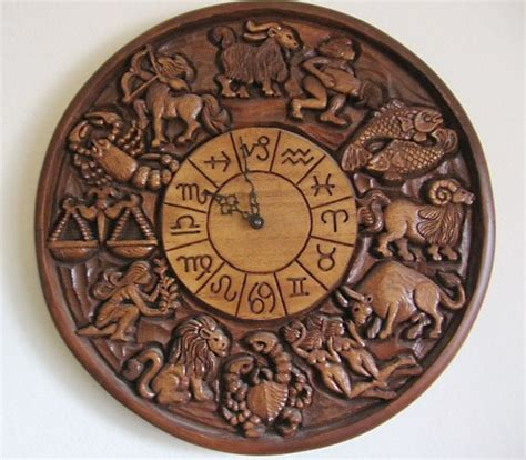 wood zodiac clock keeping time pinterest