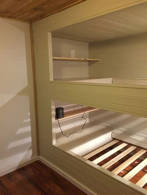 diy wall  wall built  bunk beds   full room