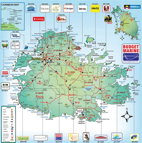 Printable Road Map Of Antigua | detailed road and tourist map of antigua antigua detailed