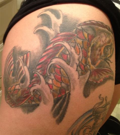 koi inside warp tattoo here my tattoo koi fish tattoo on thigh pinterest