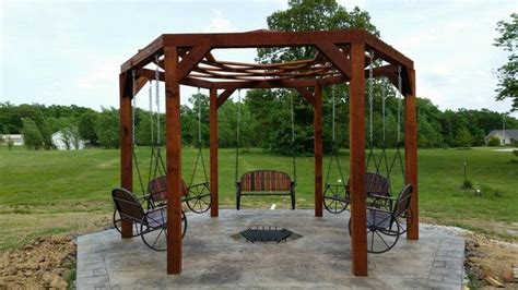 hexagon swing fire pit how to build a hexagonal swing with sunken fire pit diy