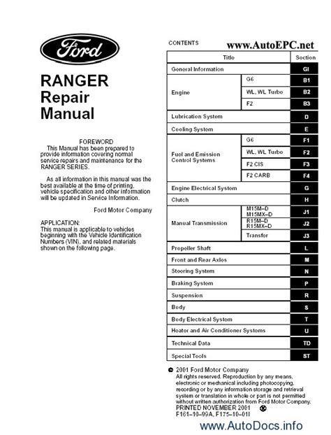 how to download repair manuals 2005 ford ranger seat position control ford ranger workshop service manual repair manual order download