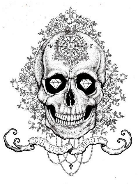 sugar skull tattoo diamond eyes meaning skull with diamond eyes on behance