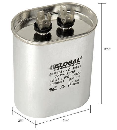 industrial capacitor types capacitors capacitors oval run capacitor 40mfd 440v b461387 globalindustrial