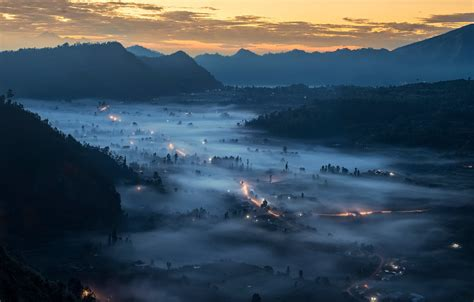 wallpaper mountains lights fog valley bali indonesia