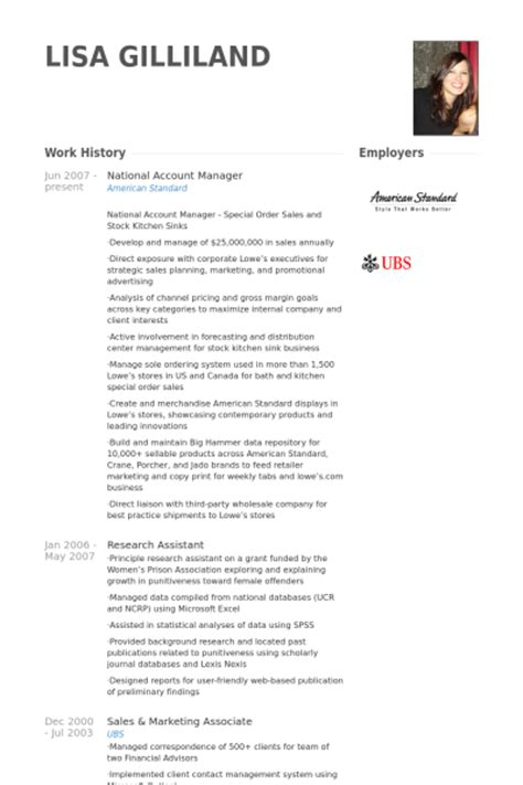 national account manager resume sles resume of