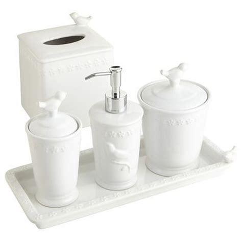 white bird stoneware bath accessories pier one bathroom