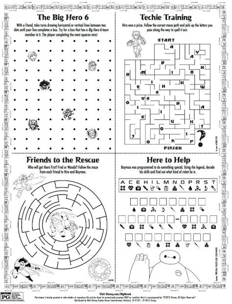 Disney Big 6 Printable Activity Page Adrian S