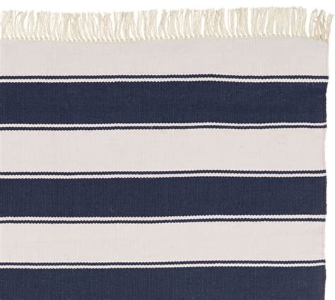 pottery barn navy rug kilner stripe recycled yarn indoor outdoor rug navy pottery barn
