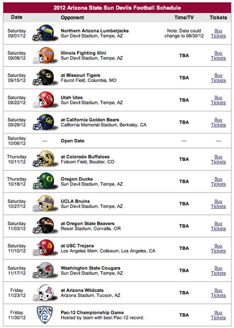 Section V Football Schedule by 2012 Arizona State Football Schedule Breakdown House Of