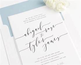 calligraphy wedding invitations in dusty blue wedding invitations
