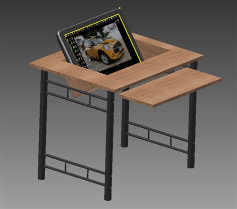 The Tinkers Workshop Recessed Computer Monitor Desk Desk With Computer Inside