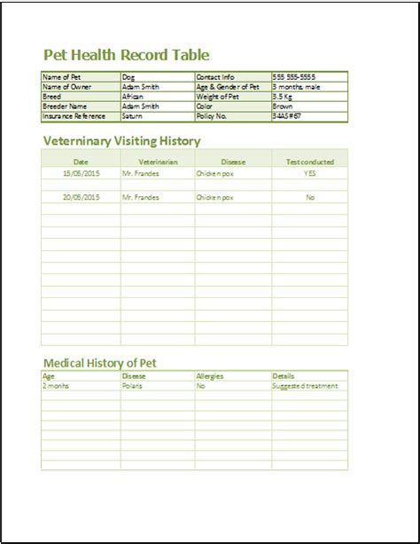 pet health record template 20 form logs sheets templates document hub