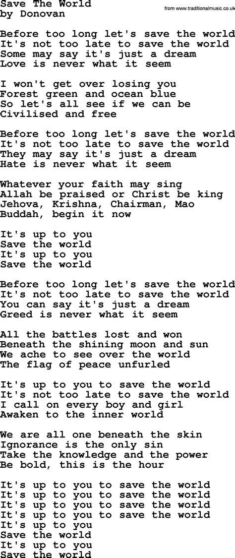 Donovan Leitch song - Save The World lyrics