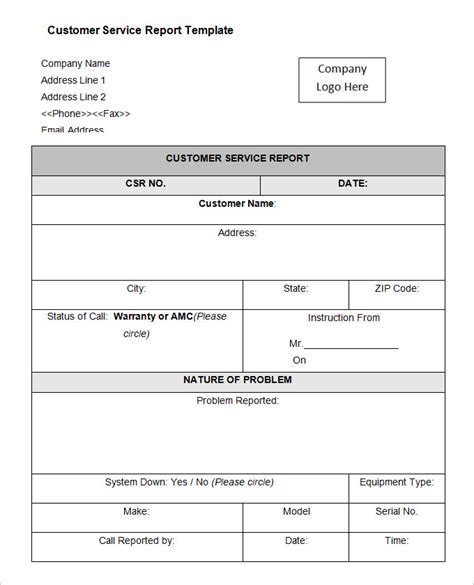 Service Review Report Template