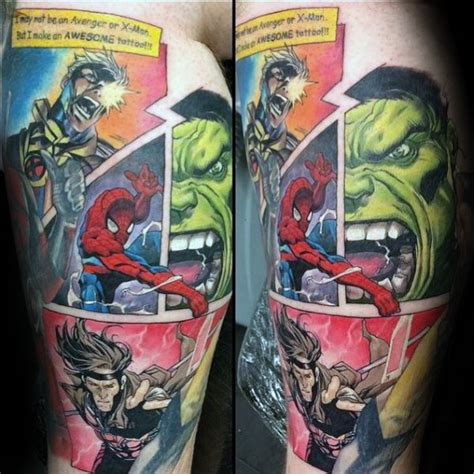 comic strip tattoo designs 60 marvel tattoos for comic design ideas