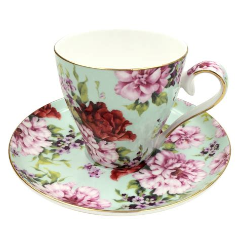 2015 Hot Sales Jsaron Vintage Bloom Flower Tea Coffee Cup with Spoon and Saucer Set Coffee Mug
