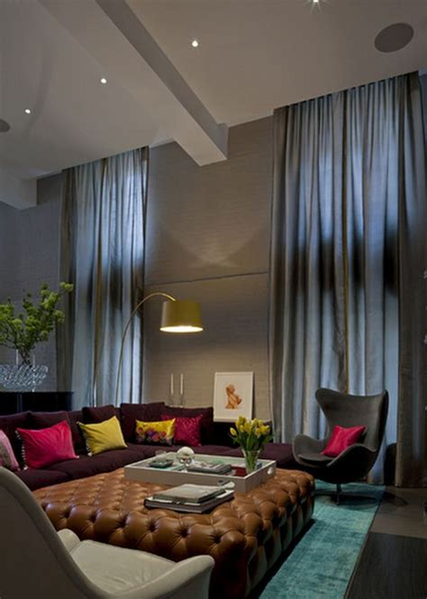 Curtains For Bathroom Windows Ideas by How To Decorate A Living Room With High Ceilings