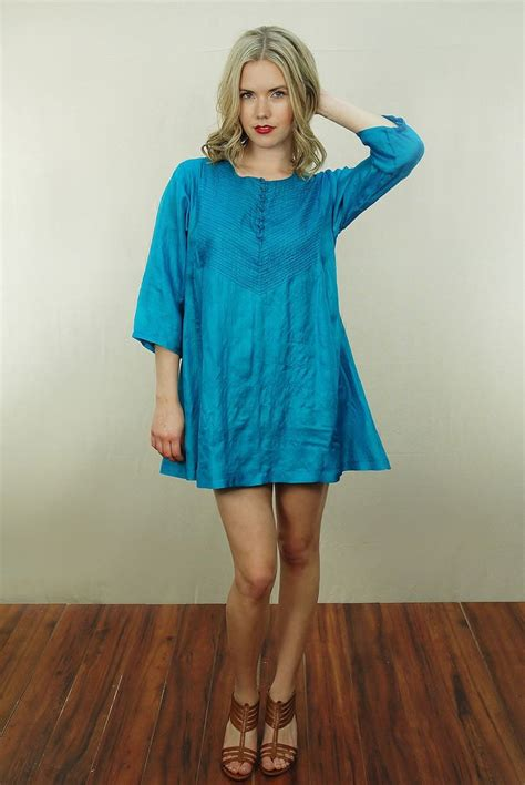 Iconic Tunik vtg 60s iconic biba teal ethnic hippie caftan boho tunic festival dress ebay vintage