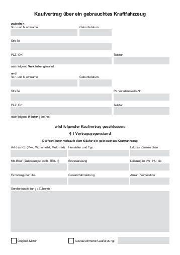 Mobile De Kaufvertrag Privat by Kaufvertrag F 252 R Kfz 214 Amtc