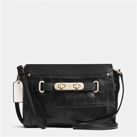 Coach Sulvian Emboss Black coach swagger wristlet in croc embossed leather in black lyst