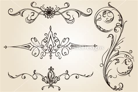 calligraphic design elements vector set 1 vector