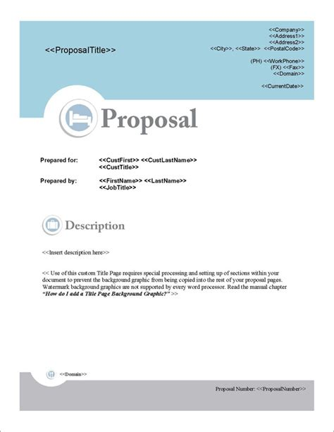 design proposal title proposal pack hospitality 1 software templates sles
