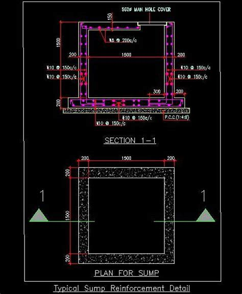 Furniture Building Software typical sump pit reinforcement and structure detail plan