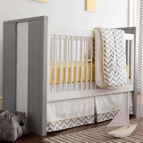gray and yellow zig zag 3 crib bedding set